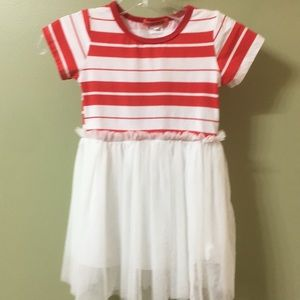 Funkyberry girl's read and white dress, 4/5